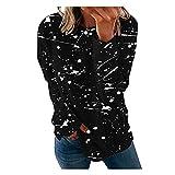 YUNGE Damen-Sweatshirts, modisch, für den Sommer, 2021, sportlich, mit Reißverschluss, modisch, langärmelig, bedruckt, lässig, Basic, mit Patchwork, Bluse, Sweatshirt, (#001) schwarz, X-Large