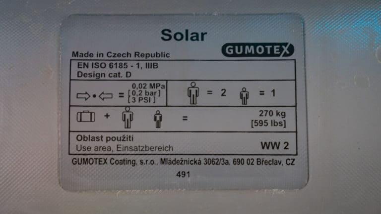 Gumotex Solar technische Daten